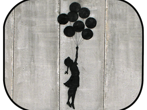 """Side Sunshade - """"Girl With Balloons"""" (44x38cm)"""