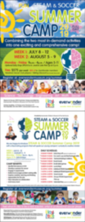 Steam and Soccer Summer Camp 2019 flyer.