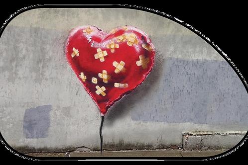 """Shaped Side Sunshade - """"Bandaged Heart"""""""" (66x38cm)"""