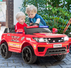 Costzon Kids Ride on Car, 12V Battery Powered Electric Fire Truck