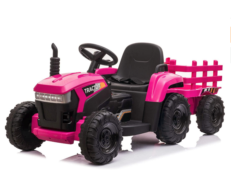 12v Pink Battery-Powered Toy Tractor with Trailer