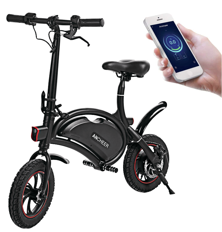 ANCHEER Folding Electric Bicycle E-Bike Scooter 350W Powerful Motor Waterproof Ebike with 15 Mile Ra