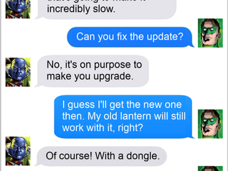 Texts From Superheroes: Upgrade?