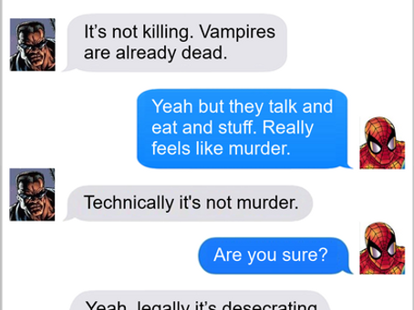 Texts From Superheroes: The Fine Line of The Law