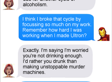Texts From Superheroes: Drinking Problems