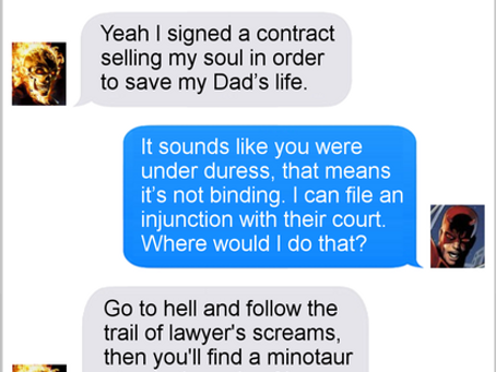 Texts From Superheroes: A Hell Of A Deal