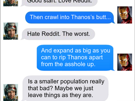 Texts From Superheroes: We're In The Rear-End Game Now