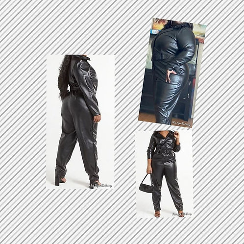Black Faux Leather Jumper