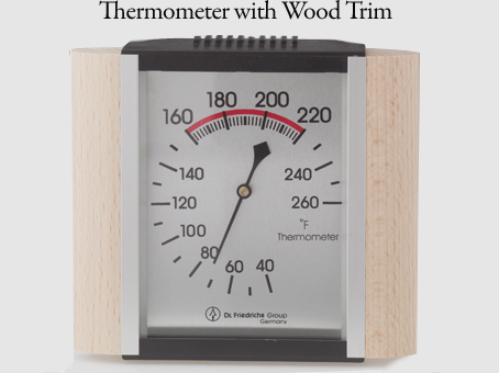Thermometer with wood trim