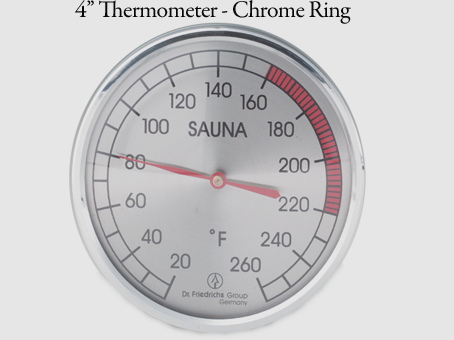 "4"" thermometer - chrome ring"