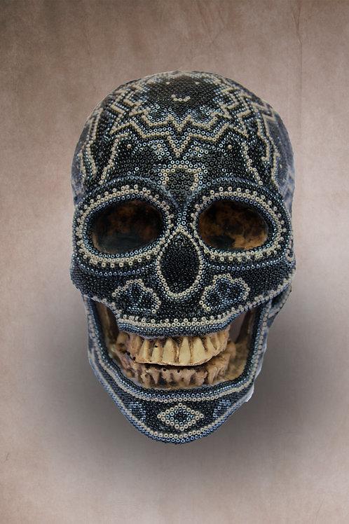 "Huichol Art ""Calavera Noir"""