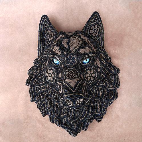 """Huichol Art """"Loup Noir"""""""