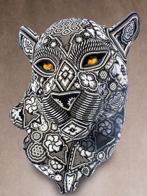 """Huichol Art """"White Jaguar"""""""