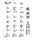 笙の譜面「越殿楽」