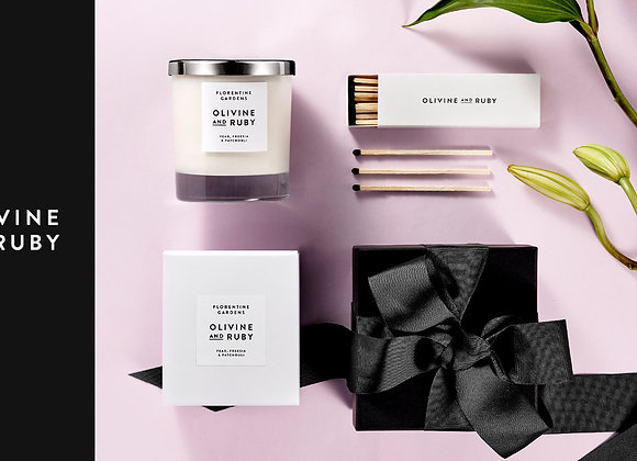 Free Olivine and Ruby Candle Set
