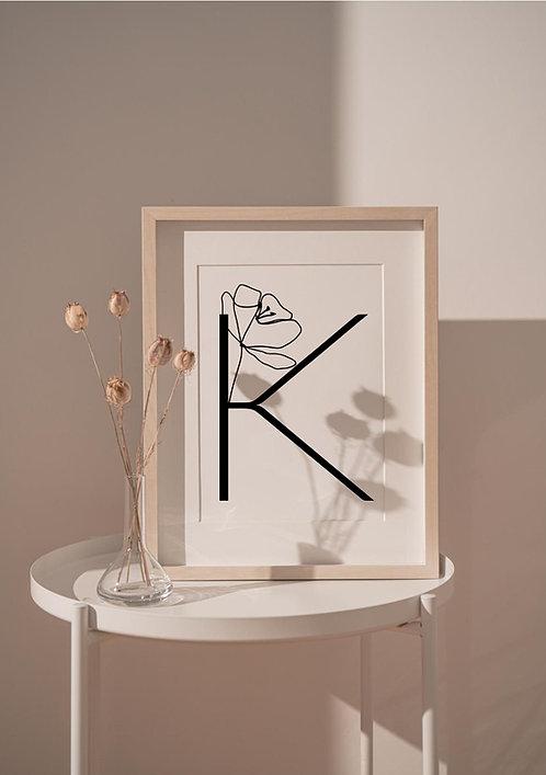 """Affiche A4 Alphabet """"Collection LES FLORALES"""""""