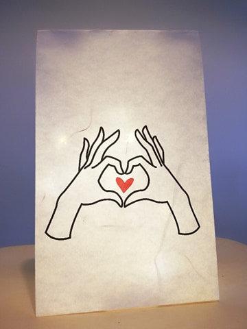 """Sac lumineux mains coeur """"Les Joyeuses Lumières"""""""