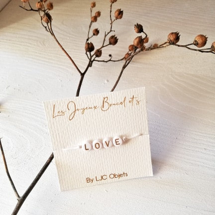 Bracelet ajustable lettres ou chiffres personnalisables