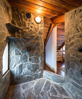 Two person rock walled shower