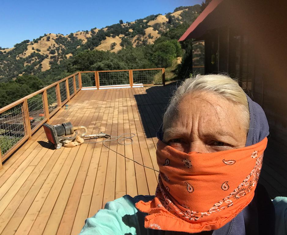 The new redwood deck