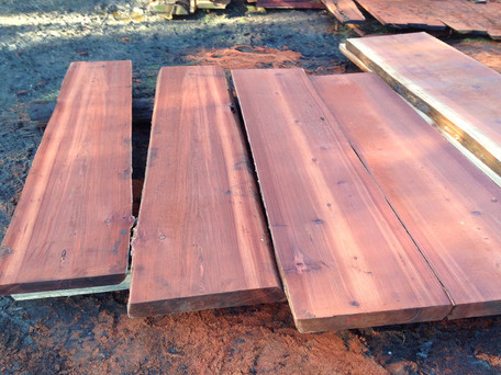 Old growth redwood slabs (no sapwood)