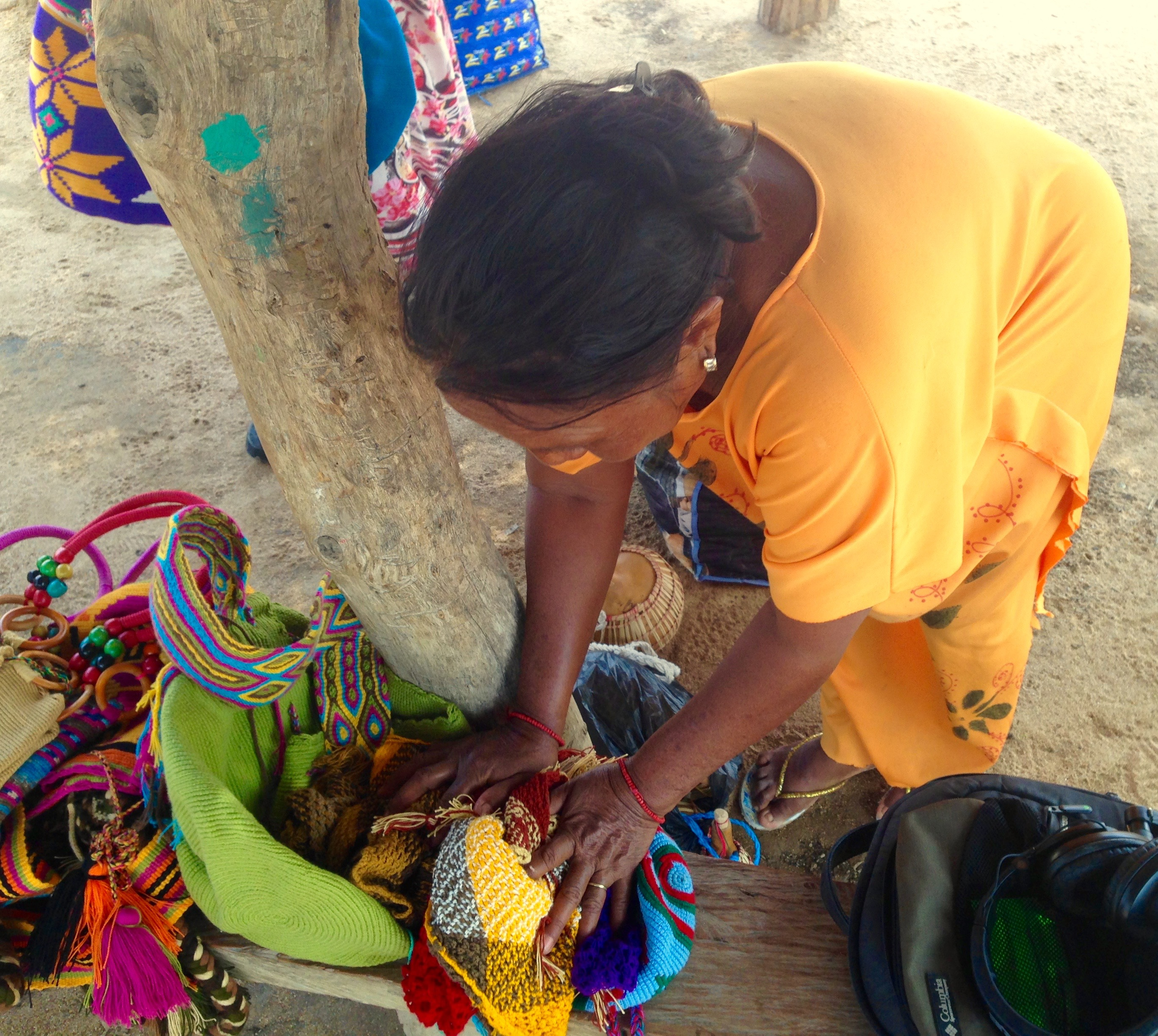 Setting out mochila bags.