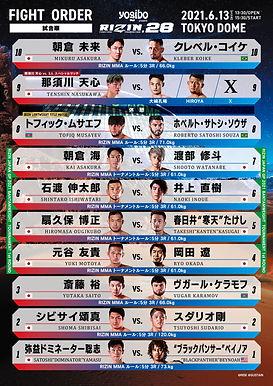 【RIZIN】東京ドーム大会試合順決定 メインは朝倉未来ークレベル・コイケ=6月13日