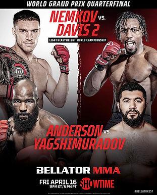 【Bellator】Bellator 257:ネムコフ vs. デイビス2開催~ライトヘビー級GP2試合=4月16日