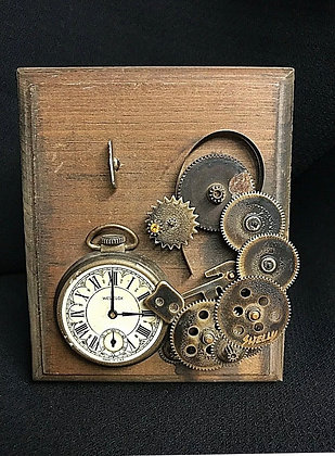 Vintage Three-dimensional Steampunk Wall Art SIGNED--SHELLY ROSENTHAL