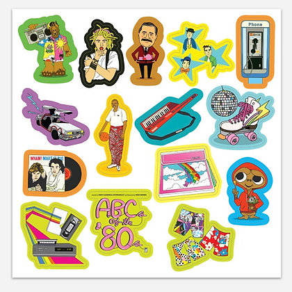 ABC's of the 80's Sticker Sheet FREE SHIPPING!