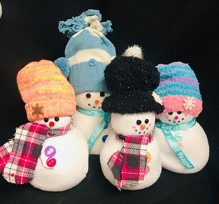 5 Assorted Handmade Sock Snowmen-FREE SHIPPING!