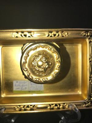 Antique Glass Inkwell on Gold Tin Tray Angel Cherub Victorian Unique Office Desk