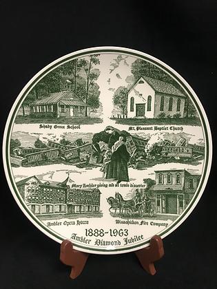 Ambler (PA) Diamond Jubilee 1888-1963 Souvenir Plate - Kettlesprings Kilns Ohio