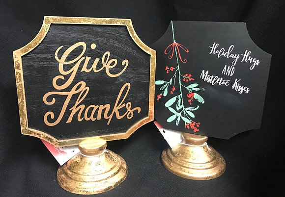 Double Sided Thanksgiving & Christmas Holiday Pedestal Sign-FREE SHIPPING!