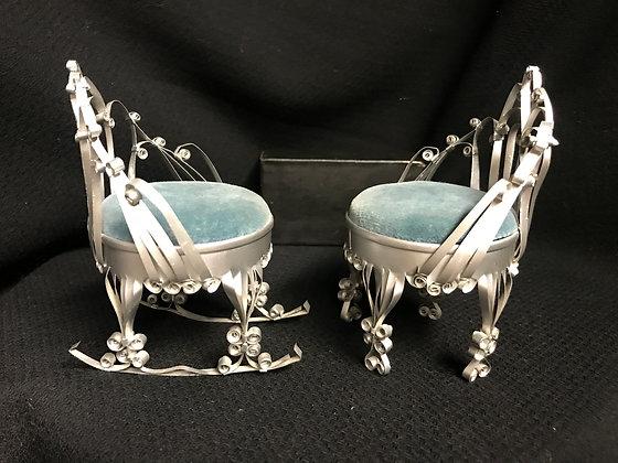 Tramp Art Aluminum Can Pin Cushion Chairs - Chair and Rocker