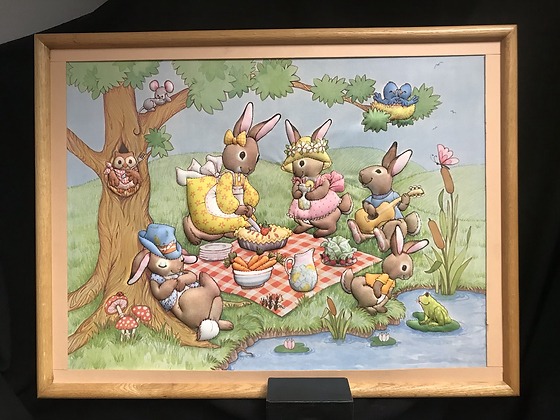 Bunny Picnic Cloth 3D Framed Picture Easter Spring Decor