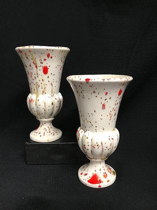 2 Vintage Splatter-Painted Decorative Vases
