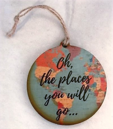 "Wooden Graduation Tag-""Oh the places you will go."""