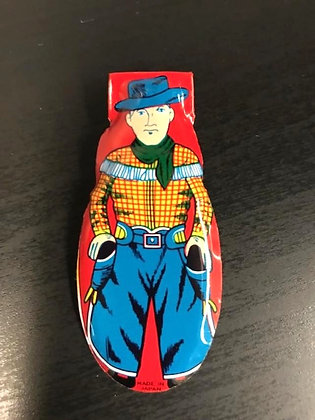 Vtg Tin Japan made Litho Clicker-Cowboy