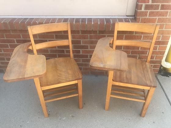 Two Wooden School Desks