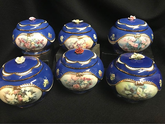 Lena Liu's Porcelain Basket Bouquets Full Set 1-6 Classical Music Trinket Boxes