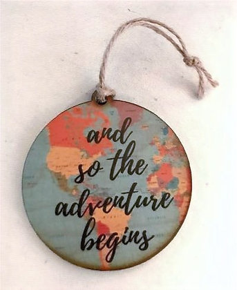 """Wooden Graduation Tag-""""and so the adventure begins'"""