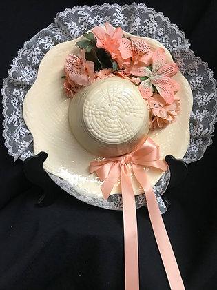 Ceramic Hat Decor, Spring Decor, Peach Hat, Old-Fashioned Hat