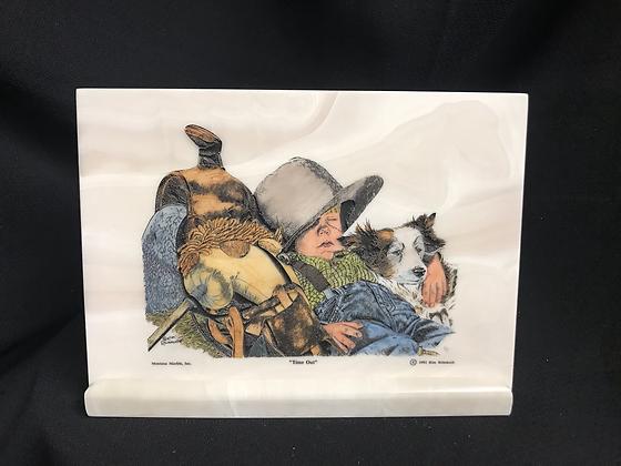 Unique Western Tile Plaque Little Cowboy Shelf Decor