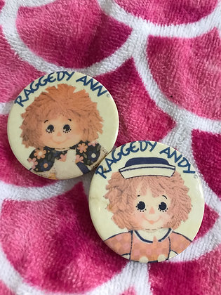 2 Vintage Raggedy Ann and Andy Pins