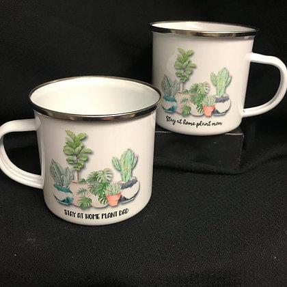 Stay At Home Plant Mom or Dad Camp Mug, Crazy Plant Lady Coffee Mug Plant Dad