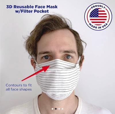 Reusable Cloth Face Mask w/Filter w/3D Fit & Head/Ear Tie Option