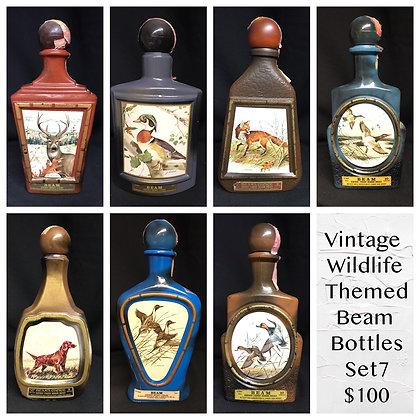 Vintage Wildlife Themed Beam Whiskey Decanters-set 7-Empty