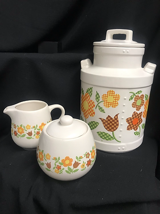 McCoy Pottery Cream, Sugar, Coffee Storage 1970's Gingham Flowers