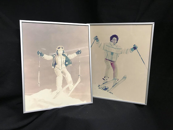 Vintage Photo Framed Ski Wall Art (2), Winter Decor, Cabin Decor, Skiing boy, Sk